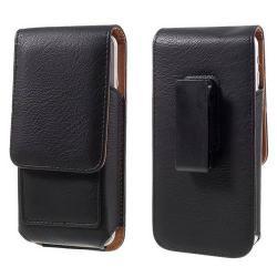 UNIVERZÁLIS álló bõrtok - mágnespatent, elforgatható övcsipesz, bankkártyatartó, 160 x 84 x 18mm - FEKETE
