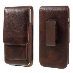 UNIVERZÁLIS álló bõrtok - mágnespatent, elforgatható övcsipesz, bankkártyatartó, 140 x 70 x 15mm - BARNA