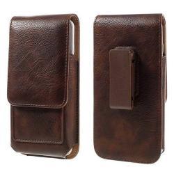 UNIVERZÁLIS álló bõrtok - mágnespatent, elforgatható övcsipesz, bankkártyatartó, 150 x 80 x 18mm - BARNA