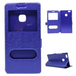 Műanyag védő tok / hátlap - KÉK - oldalra nyíló s-view cover flip, asztali tartó funkció, mágneses záródás, hívásfelvétel - HUAWEI P9 Lite