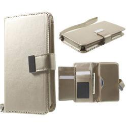 UNIVERZÁLIS notesz / pénztárca tok - ARANY - extra belső zsebekkel, oldalra nyíló, mágneses záródás, csuklópánt, 140 x 70 x 12mm
