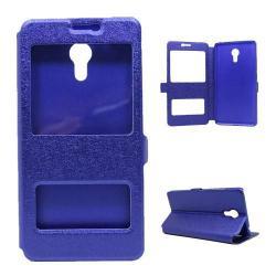 Műanyag védő tok / hátlap - SÖTÉTKÉK - oldalra nyíló s-view cover flip, asztali tartó funkció, mágneses záródás, hívásfelvétel - Meizu M3 Note