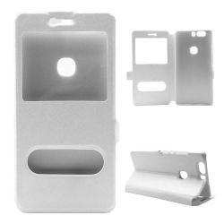Műanyag védő tok / hátlap - FEHÉR - oldalra nyíló s-view cover flip, asztali tartó funkció, mágneses záródás, hívásfelvétel - HUAWEI Honor V8