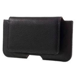 UNIVERZÁLIS fekvő tok - övre fűzhető, övcsipesz, mágnespatent, bankkártyatartó - 160 x 80 x 10mm - FEKETE