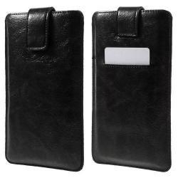 UNIVERZÁLIS álló tok - FEKETE - kihúzópántos, tépőzár, bankkártya tartó - 150 x 85 mm