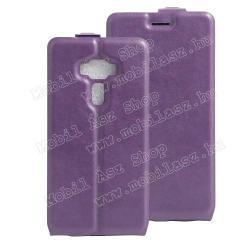 SLIM FLIP tok - LILA - lefelé nyíló, rejtett mágneses záródás, szilikon belső, bankkártya tartó, előlapi hangszóró nyílás -  ASUS Zenfone 3 Deluxe (ZS570KL)
