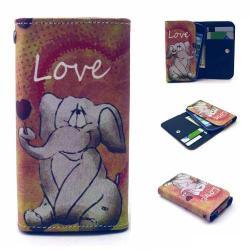 UNIVERZÁLIS notesz / pénztárca tok - ELEFÁNT MINTÁS - extra belső zsebekkel, oldalra nyíló, patentos záródás, 144 x 75mm