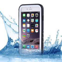 Műanyag védő tok - FEKETE / FEHÉR - csepp, por álló, IP68-as szabvány, 2m mélységig vízálló - APPLE iPhone 7 (4.7)  / APPLE iPhone 8 (4.7)