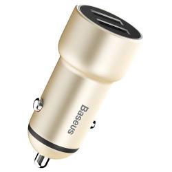 BASEUS Small Giant Metal szivargyújtós töltő / autós töltő - 2db USB aljzat, max 5V/3,4A - ARANY - GYÁRI