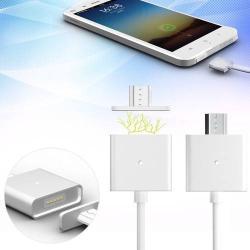 Mágneses adatátviteli kábel / USB töltõ - microUSB 2.0, 1m hosszú, porvédõ funkció, akár 2,4A töltõáram átvitelére képes - FEHÉR