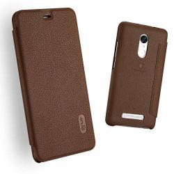 LENUO notesz / mappa tok - BARNA - oldalra nyíló flip cover, bankkártya tartó - Xiaomi Redmi Note 3 Special Edition - GYÁRI
