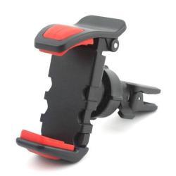 UNIVERZÁLIS autós / gépkocsi tartó - szellőzőrácsba rögzíthető, csipeszes tartó rész, 55-90cm-állítható befogó rész - FEKETE / PIROS