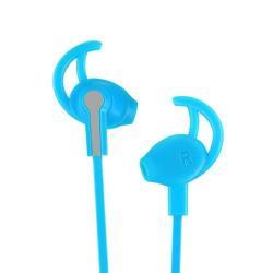 HOCO M11 sztereo sport headset - 3,5mm Jack, mikrofon, felvevő és hangerő szabályzó gomb, 1,2 m vezetékkel - VILÁGOSKÉK