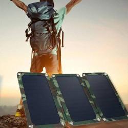 Napelemes töltő - 19,5W, 2db USB aljzat, 1 x 5V/1A, 1x 5V/2A kimenet, ZÖLD ENERGIA!