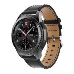 Valódi bőr okosóra szíj - SAMSUNG Galaxy Watch 46mm / SAMSUNG Gear S3 Classic / SAMSUNG Gear S3 Frontier - FEKETE