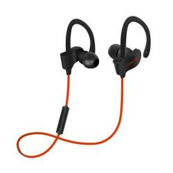 SZTEREO SPORT bluetooth headset - PIROS - V4.1, felvevő gomb, hangerő szabályzó, fülre akasztható, cseppálló