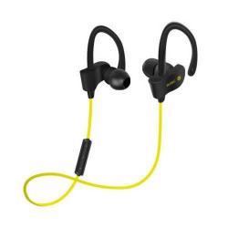 SZTEREO SPORT bluetooth headset - SÁRGA - V4.1, felvevõ gomb, hangerõ szabályzó, fülre akasztható, cseppálló