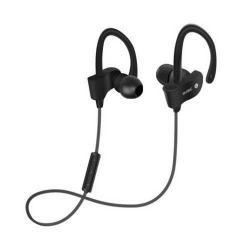 SZTEREO SPORT bluetooth headset - FEKETE - V4.1, felvevõ gomb, hangerõ szabályzó, fülre akasztható, cseppálló