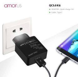 AMORUS K6 hálózati töltő USB aljzattal - Qualcomm quick charge 3.0 (6.5V-9V/2A 9V-12V/1.5A) és 3.6V-6.5V/3A, 1m-es Type-C töltő kábellel - FEKETE - GYÁRI