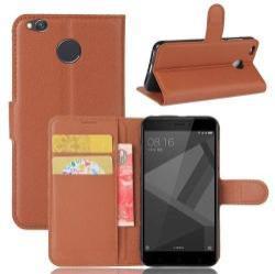 WALLET notesz tok / flip tok - BARNA - asztali tartó funkciós, oldalra nyíló, rejtett mágneses záródás, bankkártyatartó zseb, szilikon belső - Xiaomi Redmi 4X