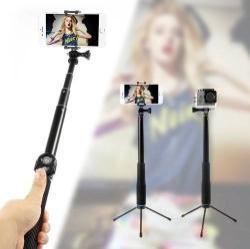 Teleszkópos selfie bot / 3 lábú tripod állvány - BLUETOOTH KIOLDÓVAL, forgatható, max 110cm hosszú nyél, 50mm-80mm-ig állítható telefon tartó / GoPro rögzítő - KÉK