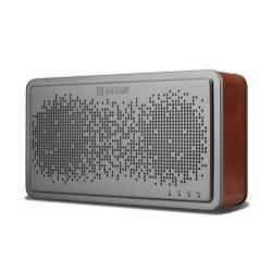ICARER BS-221 hordozható Bluetooth hangszóró, V4.0, AUX csatlakozó, valódi bőr borítás - SÖTÉTBARNA