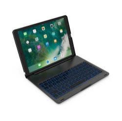 SLIM notesz / mappa tok - FEKETE - alumínium ötvözet, beépített ANGOL nyelvű bluetooth billentyűzet, asztali állvány - APPLE iPad Pro 10.5 (2017)