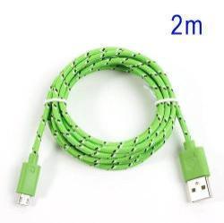 Adatátviteli kábel / USB töltő - microUSB 2.0, 2m hosszú, 1A - ZÖLD