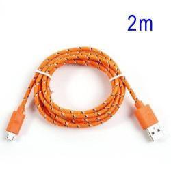 Adatátviteli kábel / USB töltő - microUSB 2.0, 2m hosszú, 1A - NARANCS