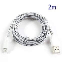 Adatátviteli kábel / USB töltő - microUSB 2.0, 2m hosszú, 1A - FEHÉR