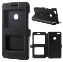 Műanyag védő tok / hátlap - FEKETE - oldalra nyíló s-view cover flip, asztali tartó funkció, mágneses záródás, hívásfelvétel - Xiaomi Redmi Note 5A Prime / Xioami Redmi Y1