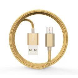 DEVIA 2.1A adatátvitel adatkábel / USB töltõ - USB / microUSB, 1m - szövet borítású - ARANY