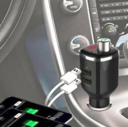 BC23 BLUETOOTH kihangosító szett - szivartöltőbe tehető, FM transmitterrel csatlakozik autórádióra, EXTRA USB töltő aljzatok, 5V/2400mAh - FEKETE