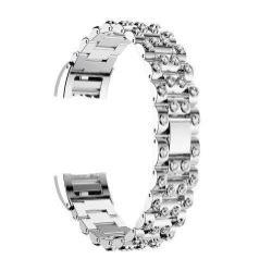 Fém okosóra szíj - strassz kővel díszített - EZÜST / FEHÉR - Fitbit Charge 2