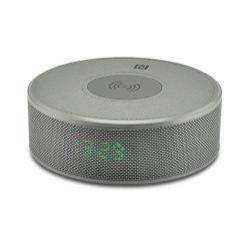 YOGEE JY-29C hordozható bluetooth hangszóró - SZÜRKE - v.3.0, NFC, ébresztõ óra, microSD kártyaolvasó, 3,5 mm-es aux, mikrofon, Qi Wireless vezetéknélküli asztali töltõ állomás