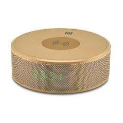 YOGEE JY-29C hordozható bluetooth hangszóró - ARANY - v.3.0, NFC, ébresztõ óra, microSD kártyaolvasó, 3,5 mm-es aux, mikrofon, Qi Wireless vezetéknélküli asztali töltõ állomás