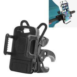 UNIVERZÁLIS telefon tartó babakocsira - 360°-ban forgatható, kormányra rögzíthető - 46-90 mm-ig nyíló bölcsõvel - FEKETE