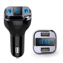 Szivargyújtós töltő / autós töltő / GPS nyomkövető - 2db USB PORT (24W, DC 5V / 12V-24V / 4.2A) - feszültség és árammérő, 50m GPS hatótáv - FEKETE