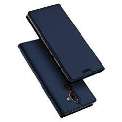 DUX DUCIS slim design notesz / mappa tok - SÖTÉTKÉK - oldalra nyíló flip cover, asztali tartó funkció, szilikon belső, mágneses záródás - NOKIA 7 plus (2018) - GYÁRI