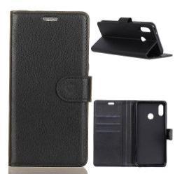 Notesz tok / flip tok - FEKETE - asztali tartó funkciós, oldalra nyíló, rejtett mágneses záródás, bankkártyatartó zseb, szilikon belső - ASUS Zenfone 5 (ZE620KL) (2018)