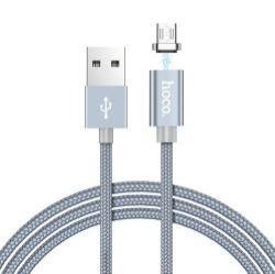 HOCO U40A adatátviteli kábel / USB töltő - mágneses, microUSB / USB, 1m, 2A, szövettel bevont, adatátviteli funkció is! - SZÜRKE