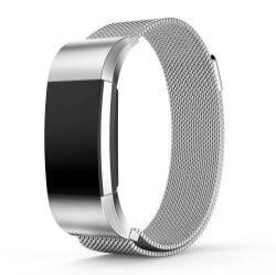Okosóra szíj - rozsdamentes acél, mágneses - EZÜST - S méret, 210mm hosszú - Fitbit Charge 2