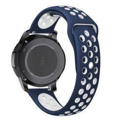 Okosóra szíj lyukacsos, légáteresztő - FEHÉR / KÉK - SAMSUNG Galaxy Watch 46mm / SAMSUNG Gear S3 Classic / SAMSUNG Gear S3 Frontier