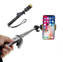 LDX-809 teleszkópos selfie bot - BLUETOOTH KIOLDÓVAL, TRIPOD CSATLAKOZÓVAL IS!, forgatható, max 80cm hosszú nyél, 55mm-90mm-ig állítható telefon tartó bölcső, GoPro, kamera és telefonhoz is hazsnálható - FEKETE