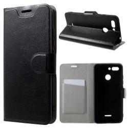 CRAZY notesz tok / flip tok - FEKETE - asztali tartó funkciós, oldalra nyíló, rejtett mágneses záródás, bankkártya tartó zsebekkel, szilikon belső, Fedlapba épített acéllemezzel, ERŐS VÉDELEM! - Xiaomi Redmi 6