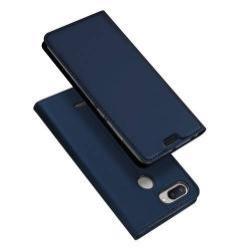 DUX DUCIS slim design notesz / mappa tok - SÖTÉTKÉK - oldalra nyíló flip cover, asztali tartó funkció, szilikon belső - Xiaomi Redmi 6 - GYÁRI