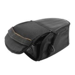 UNIVERZÁLIS tok / kamera táska - FEKETE - Szövet, 2 különálló zsebbel, zipzár, tépőzár, karabíner, övre fűzhető - 170 x 225 mm