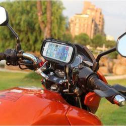 UNIVERZÁLIS motoros telefon tartó - 360°-ban forgatható, 135 x 70mm-es zárt, zipzáras bölcsővel - FEKETE