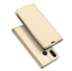 DUX DUCIS slim design notesz / mappa tok - ARANY - oldalra nyíló flip cover, asztali tartó funkció, szilikon belső, mágneses záródás - Xiaomi Redmi Note 6 Pro - GYÁRI