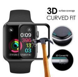 Előlap védő karcálló edzett üveg - 1db, 9H, 3D - A TELJES ELŐLAPOT VÉDI! - FEKETE - Apple Watch 4 44mm